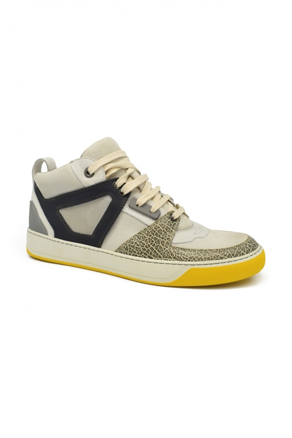 Luxury sneakers for men - Lanvin multicolored leather and suede sneakers