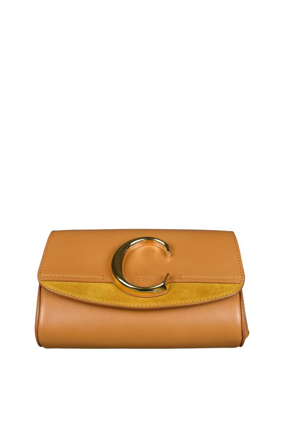 Luxury belt bag - Chloé C camel suede and leather belt bag