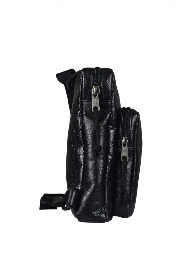 Luxury pouch - Balenciaga Explorer pouch in black crackled-effect leather