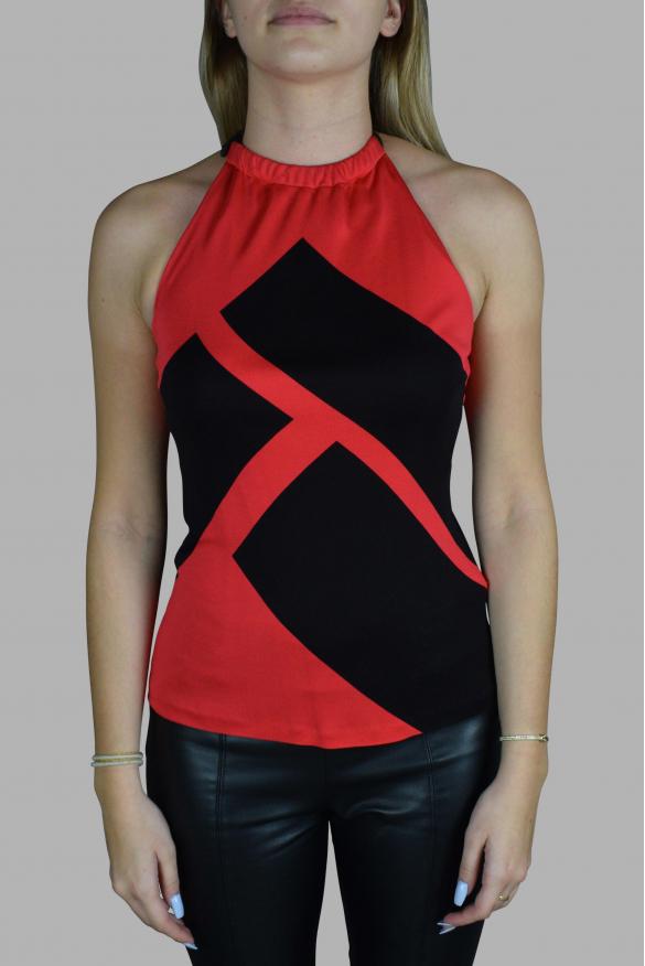 Luxury top for women - Ralph Lauren red top with black patterns