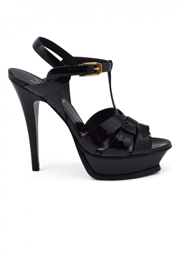 Luxury shoes for women - Saint Laurent Tribute sandals in black patent leather high heel