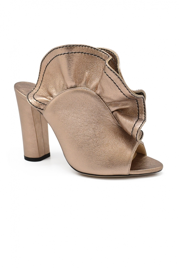 Luxury shoes for women - Jimmy Choo Haile 100 mules in bronze leather