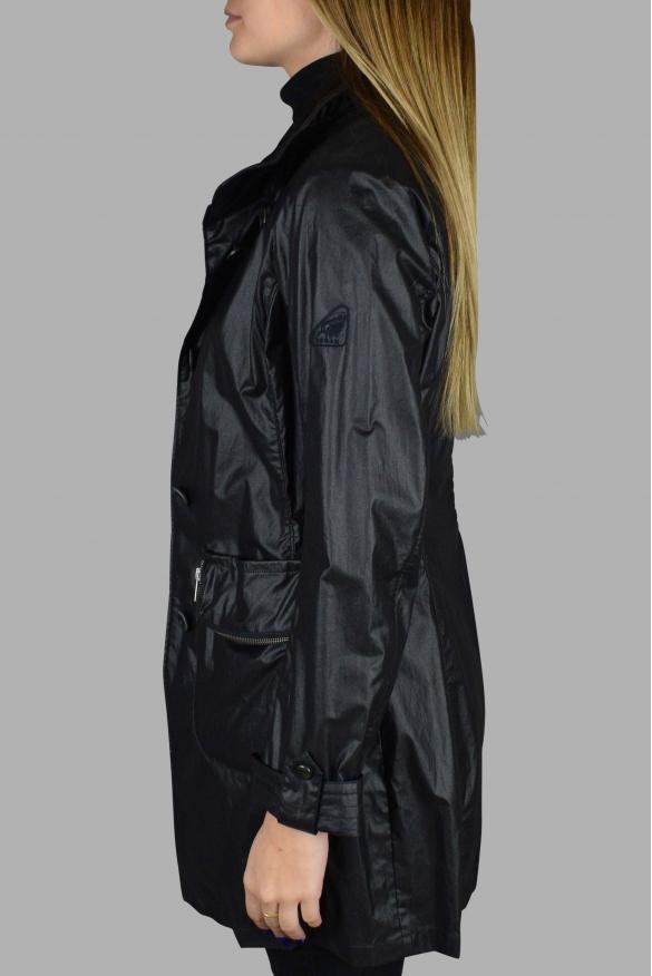 Women's luxury coat - Hogan black satin-effect coat