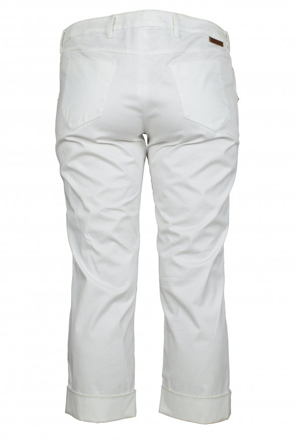 Luxury cropped trousers for women - Prada white cropped trousers with leather logo