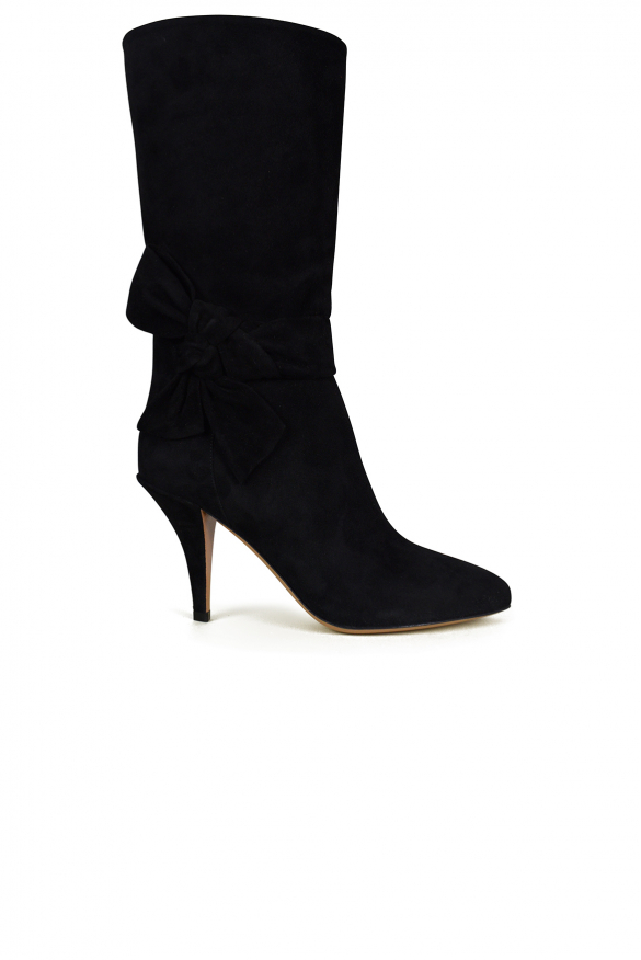 Luxury shoes for women - Valentino low bow-tie boots in black suede