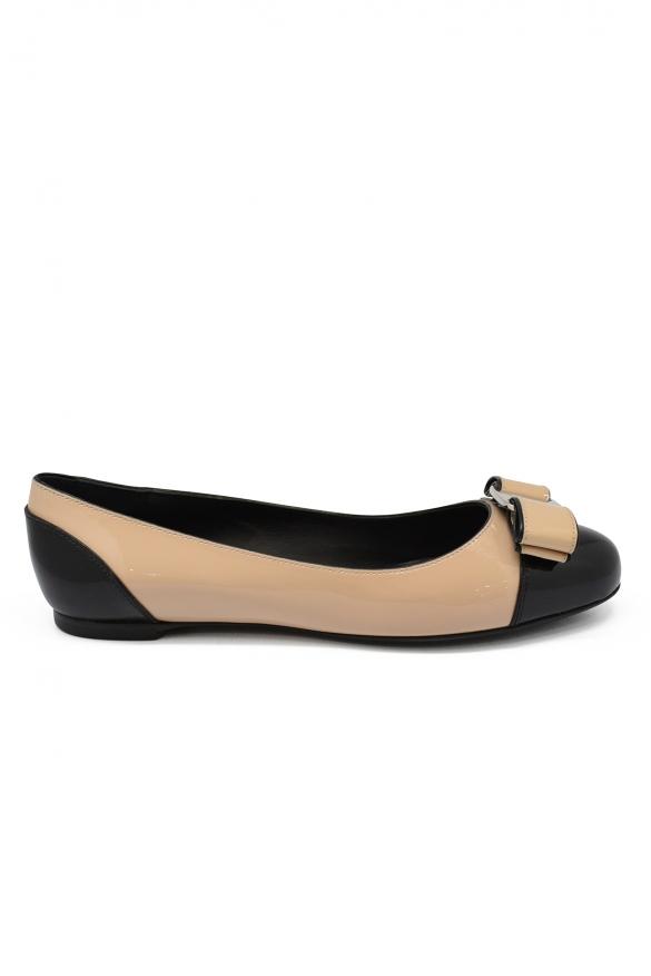 Luxury shoes for women - Salvatore Ferragamo beige ballet flats with beige knot