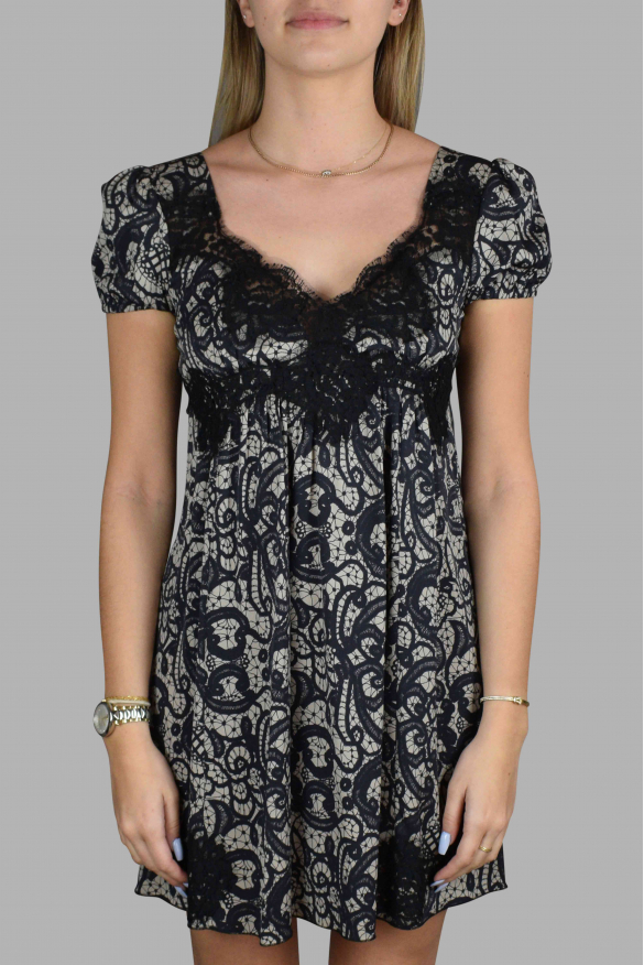 Luxury dress for women - Dolce & Gabbana beige dress with black pattern and lace