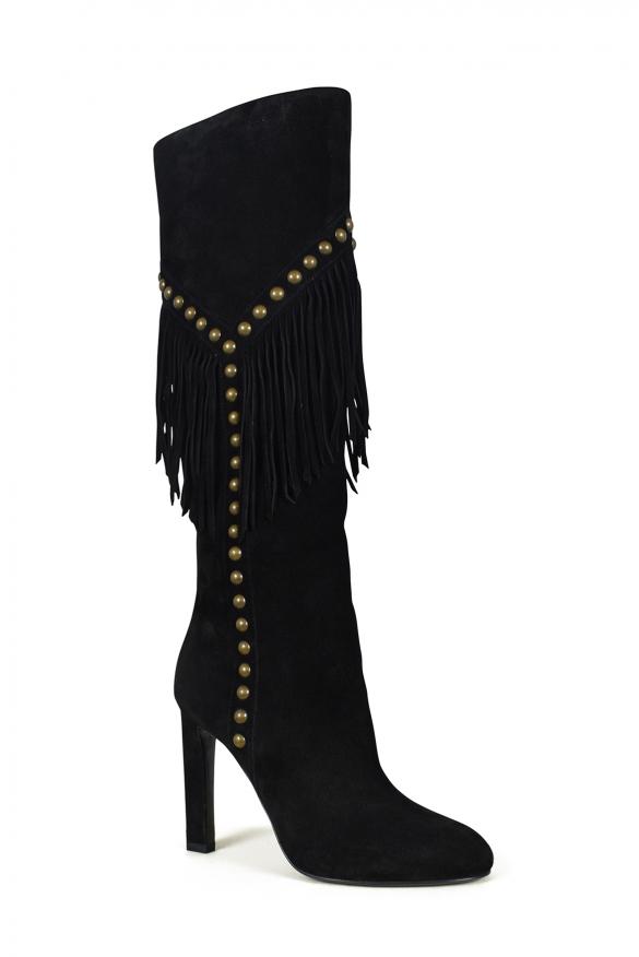 Luxury shoes for women - Saint Laurent Grace black suede boots with fringes
