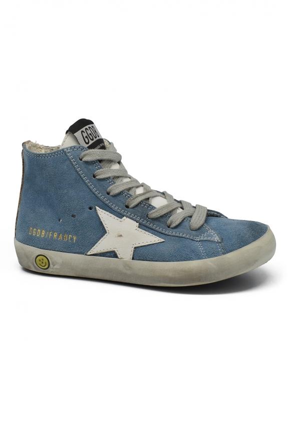 Golden Goose kids - Golden Goose Francy high blue suede sneakers