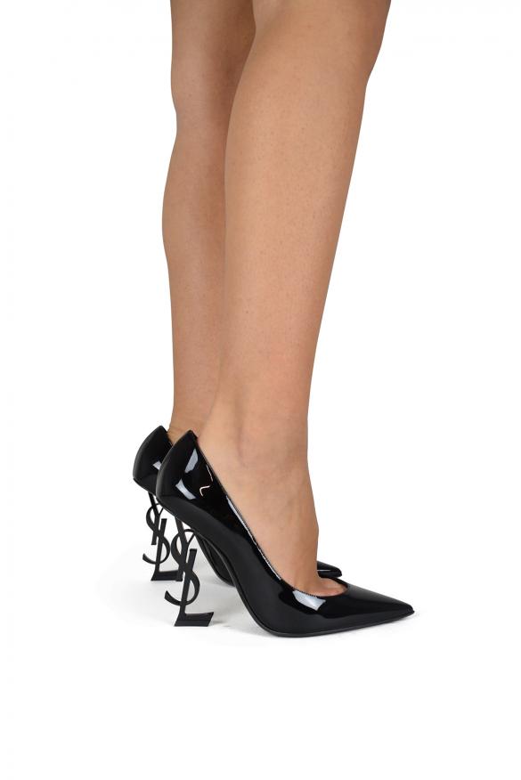 Women's luxury pumps - Saint Laurent pumps Opyum model in black patent leather with black embellished heel