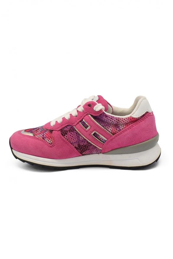 Luxury sneakers for kids - Hogan sneakers in pink suede