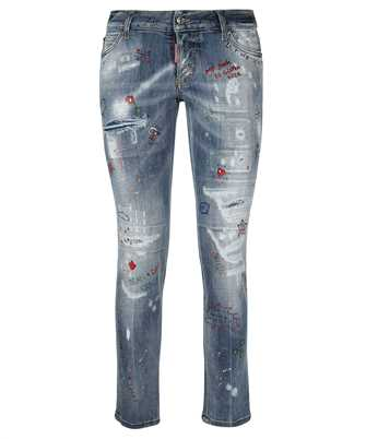 embellished low-rise jeans