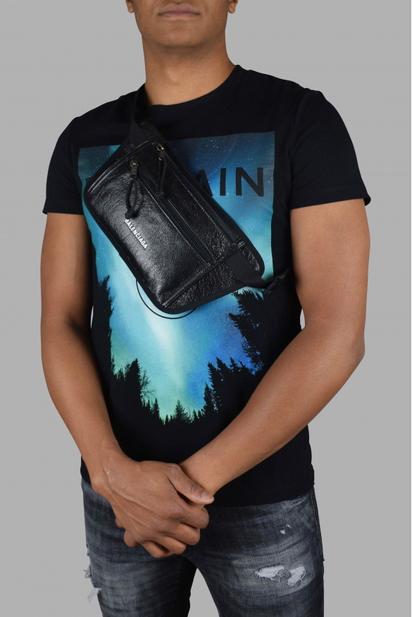 Luxury satchel - Balenciaga Explorer satchel in black crackled-effect leather