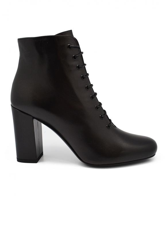 Luxury shoes for women - Saint Laurent Babies 90 lace-up black boots