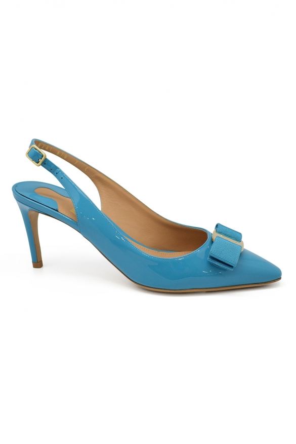 Luxury shoes for women - Salvatore Ferragamo turquoise pumps