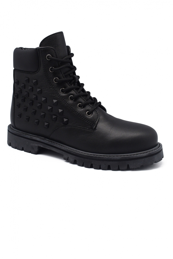 Luxury shoes for men - Valentino Rangers in black leather