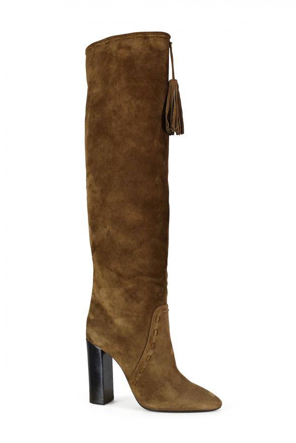 Luxury shoes for women - Saint Laurent Meurice boots in camel suede