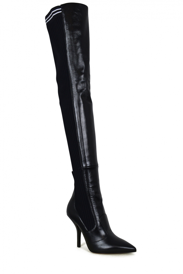 Women luxury shoes - Fendi stretch over-the knee black leather boots