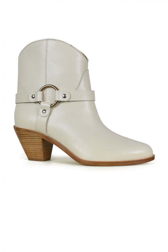 Women's luxury shoes - Beige Francesco Russo boots in beige leather and wooden heel