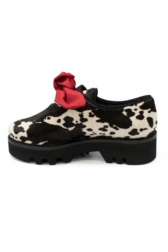 Women luxury shoes - Walter Steiger Smoking black & white foal shoes