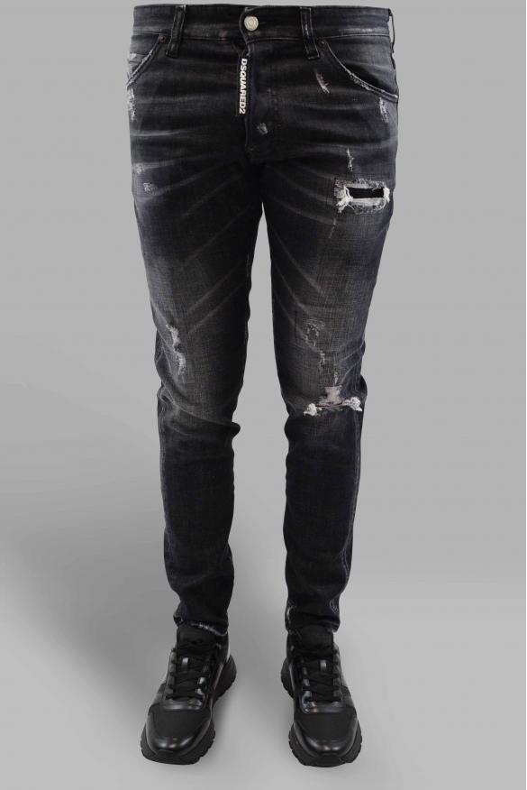 Men's designer jeans - Dsquared2 Cool Guy Jean in black denim faded