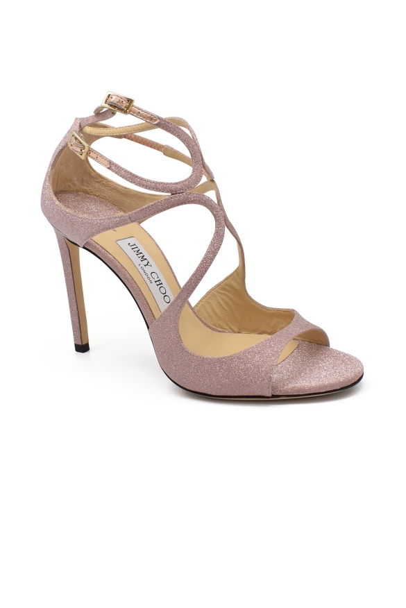 Luxury shoes for women - Jimmy Choo Lang sandals in pink glitter