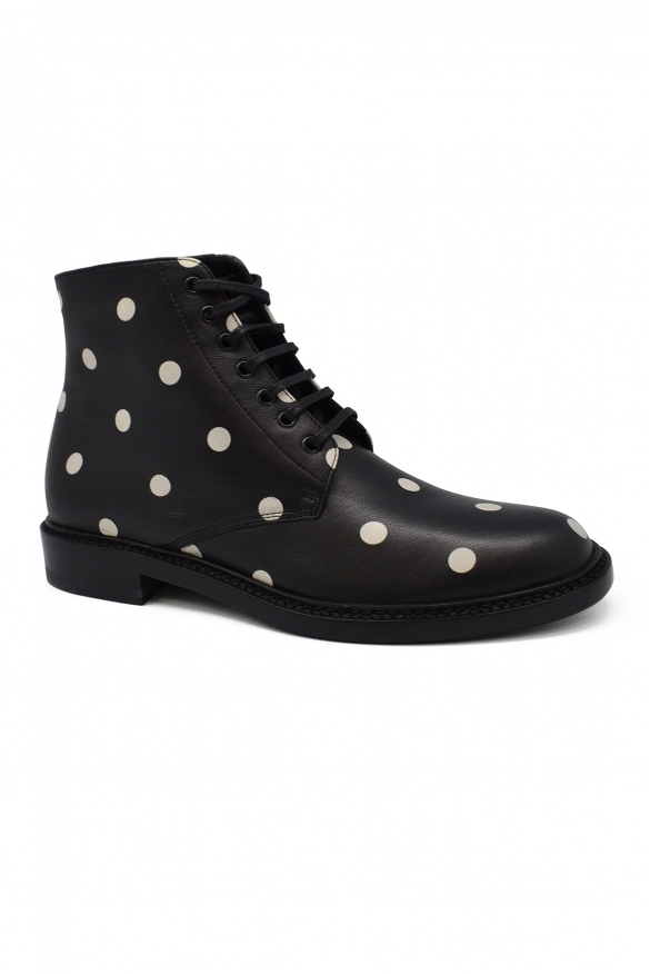 Luxury shoes for women - Saint Laurent Lolita 20 boots with white dots