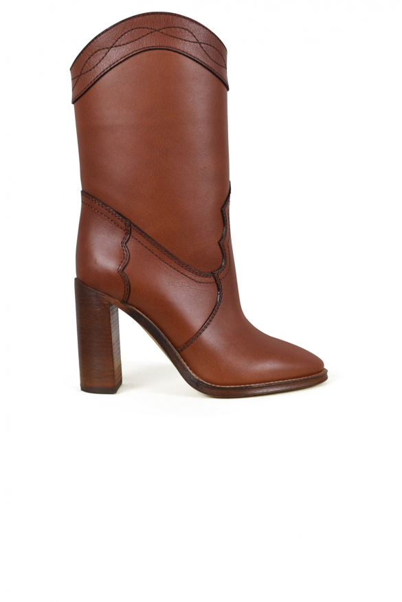 Women's luxury ankle boots - Saint Laurent Kate model ankle boots in smooth gold leather