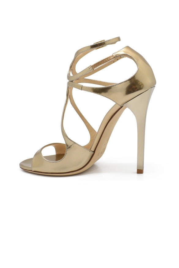 Luxury shoes for women - Jimmy Choo Lang sandals in gold leather