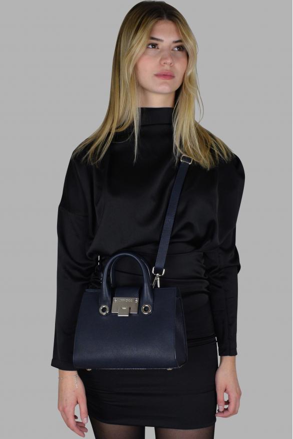 Luxury handbag - Jimmy Choo Mini Riley model handbag in navy leather