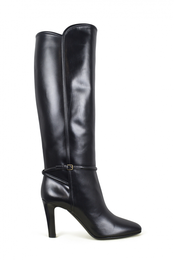 Women's luxury boots - Saint Laurent Jane 90 black leather boots