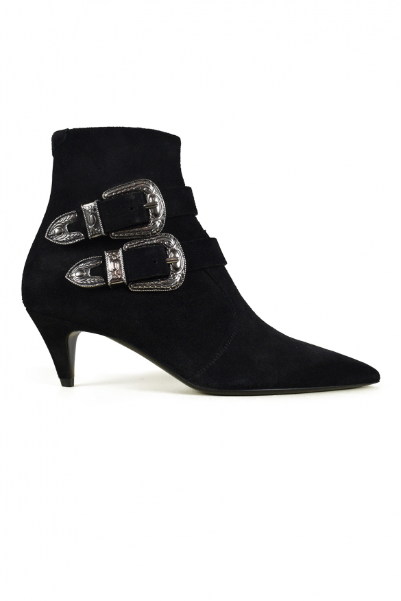 Luxury shoes for women - Saint Laurent Charlotte boots in black suede