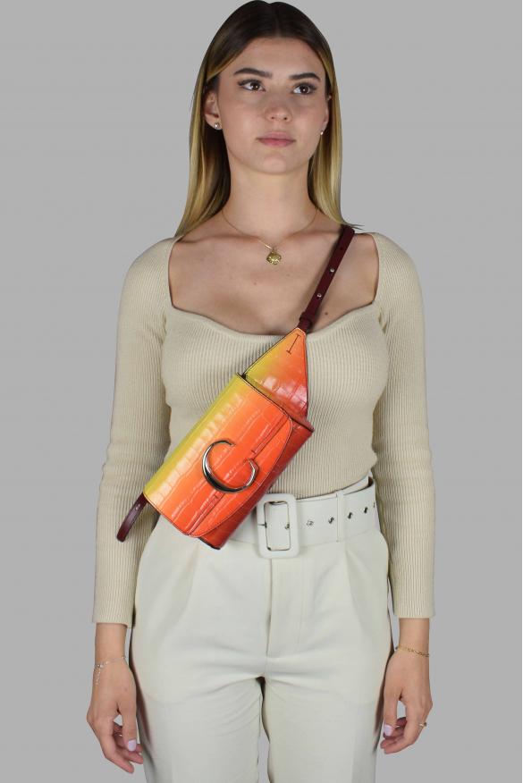 Luxury belt bag - Chloé C belt bag in orange and yellow crocodile embossed leather
