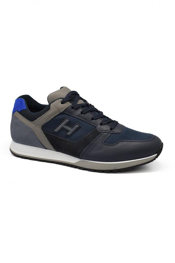 Luxury sneakers for men - Hogan black and blue sneakers H321