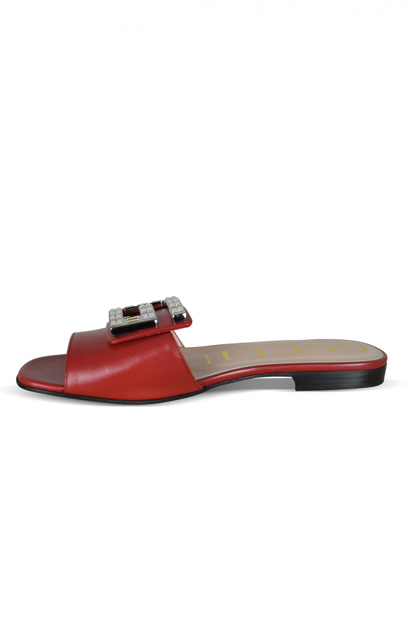Women's luxury sandals - Gucci red leather sandals with logo