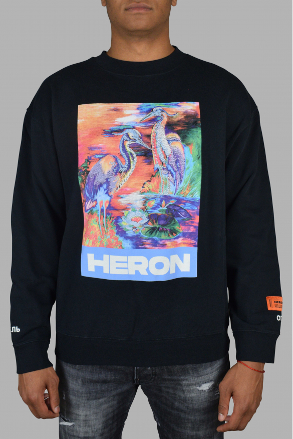 Luxury sweater for men - Heron Preston black sweater with multicolor graphic print