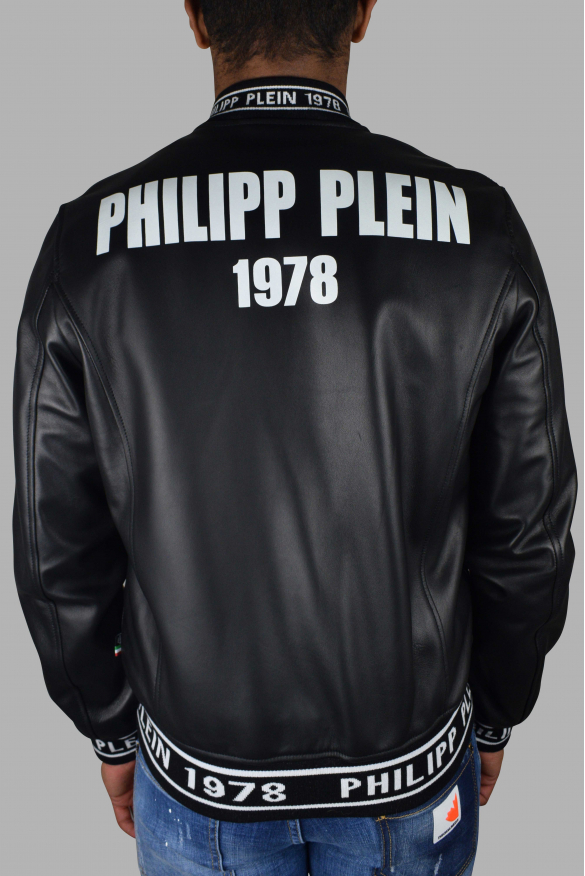 Men's luxury jacket - Philipp Plein Bomber jacket in black leather with logo