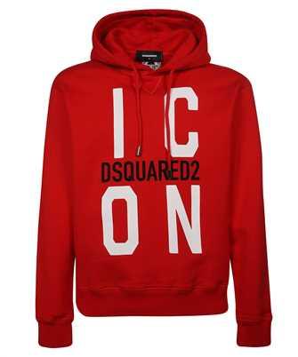 icon print drawstring hoodie