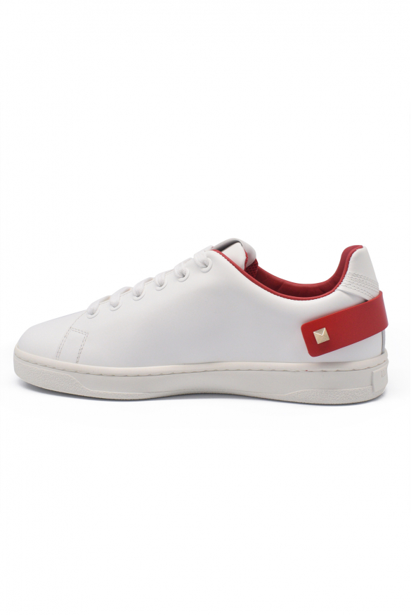Women's luxury sneakers - Valentino Backnet sneakers in white leather with red details