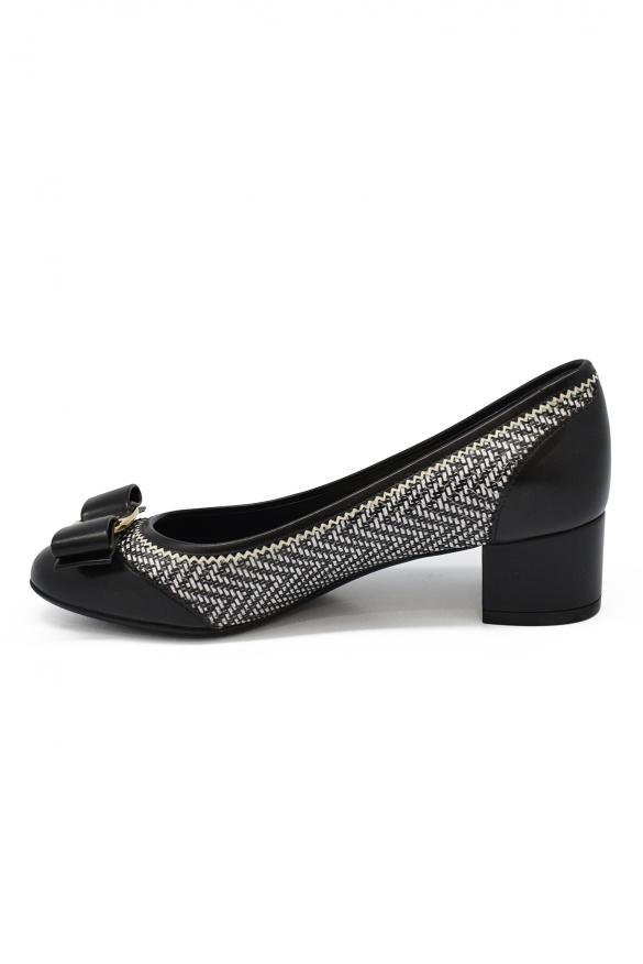 Women luxury shoes - Salvatore Ferragamo black pumps with withe details
