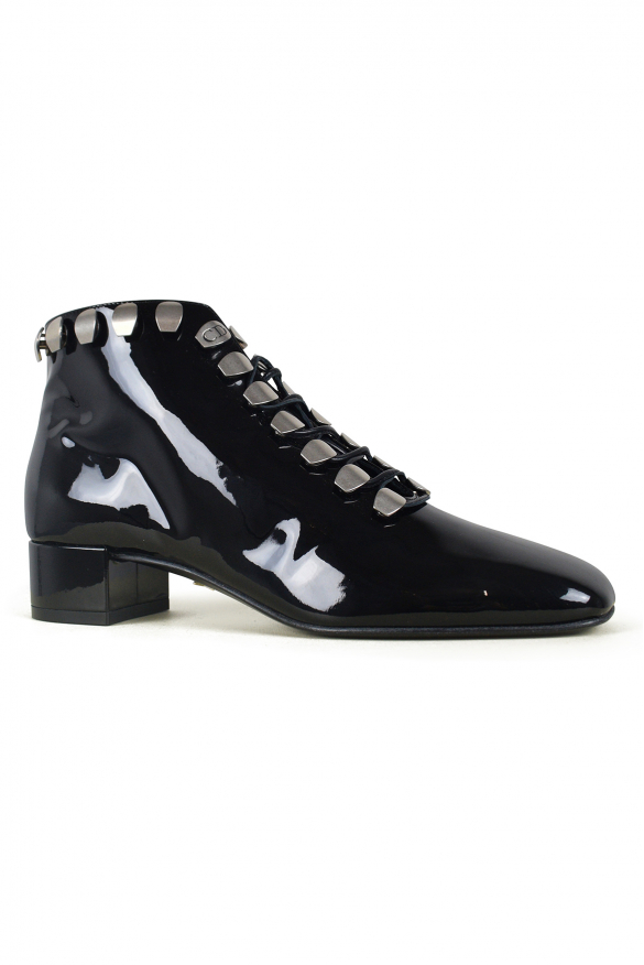 Luxury shoes for women - Dior lace-up boots in black patent leather