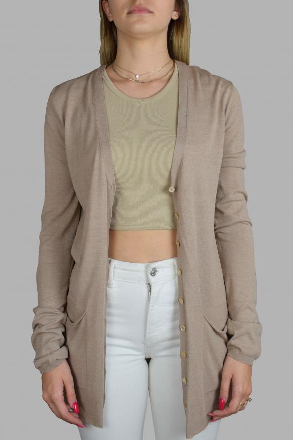Luxury waistcoat for women - Dolce & Gabbana beige long sleeveless waistcoat