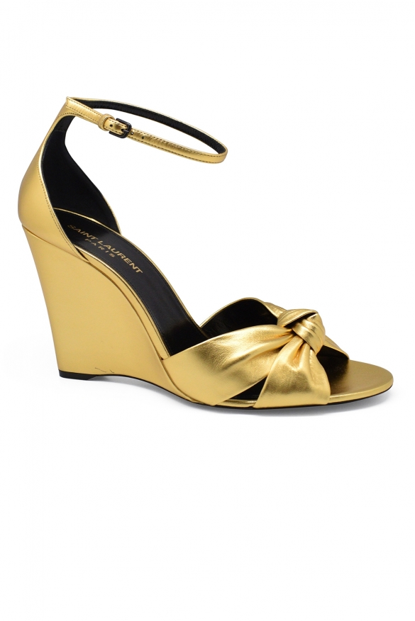Luxury shoes for women - Saint Laurent Bianca in gold leather sandals high heel