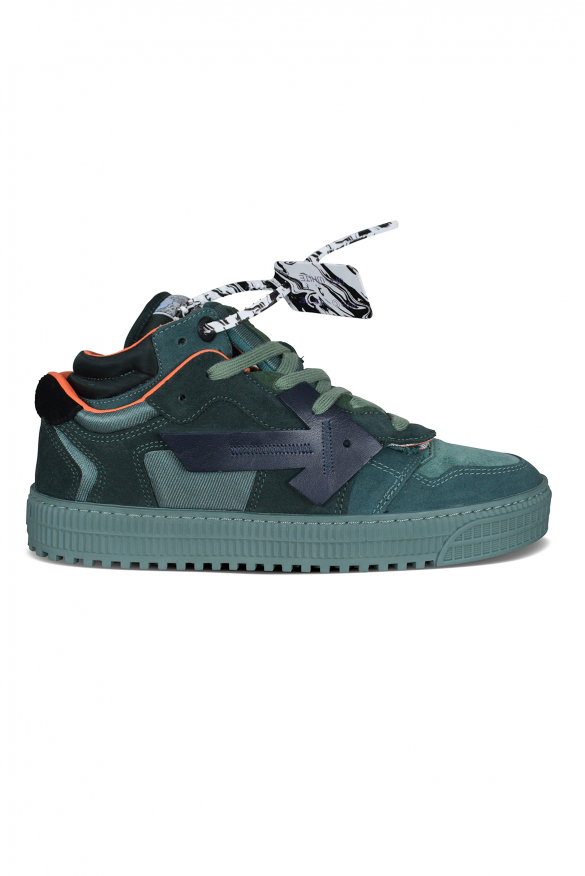 Luxury sneakers for men - Off Court sneakers in green suede