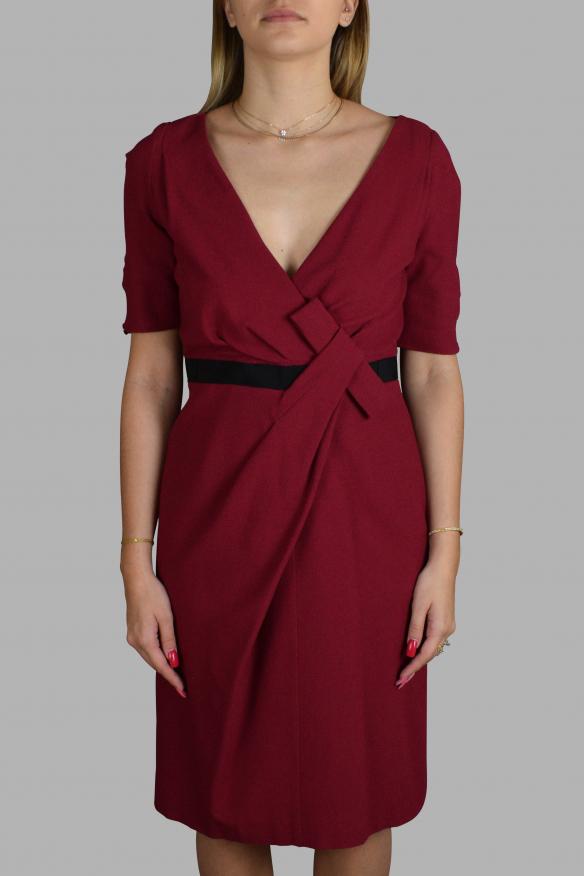 Luxury dress for women - Antonio Marras dark red dress with short sleeves