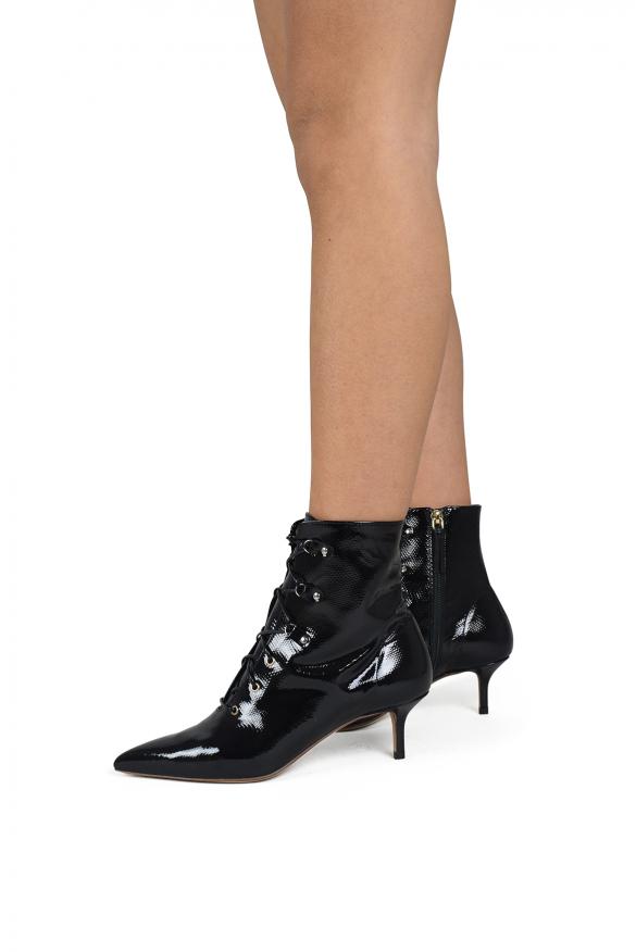 Women's luxury shoes - Black varnished Francesco Russo boots.