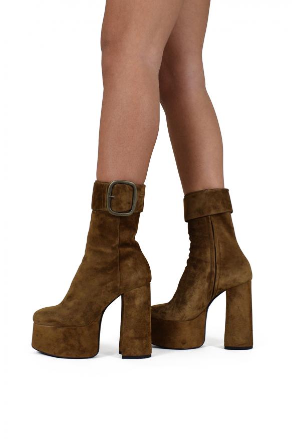 Women luxury shoes - Saint Laurent Billy platform boots in camel suede