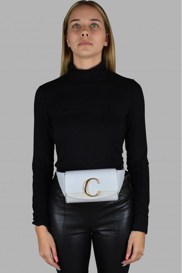 Luxury belt bag - Chloé C light blue suede and leather belt bag