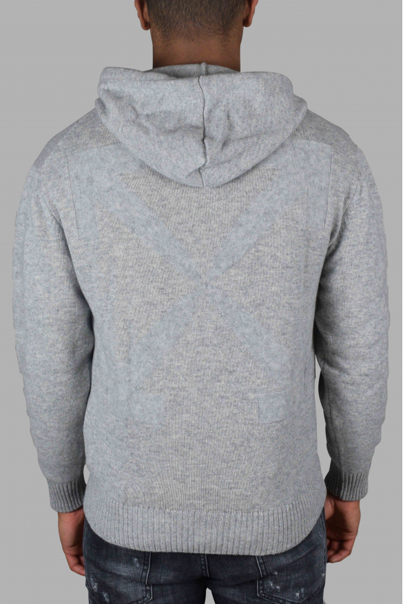 Men's luxury sweat - Off-White gray cashmere hooded sweater