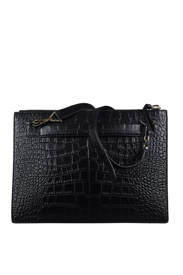 Luxury bags for men - Givenchy pouch in black crocodile stamped leather